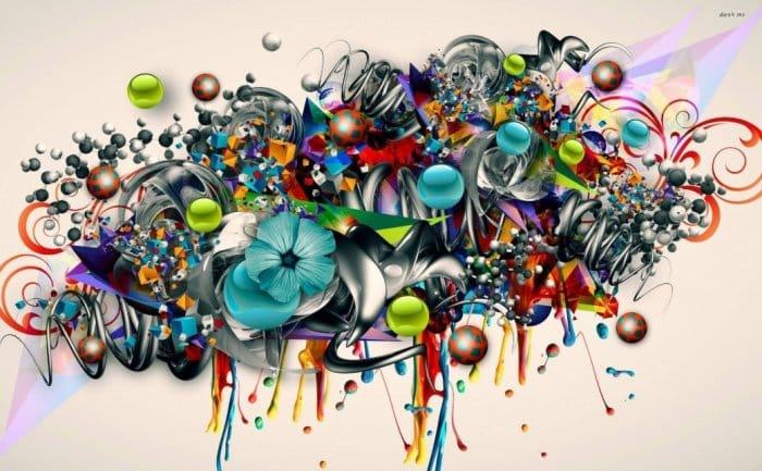 Gambar Grafiti Bunga Abstrak