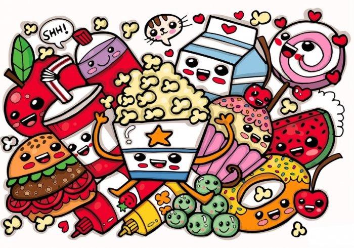 Gambar Grafiti Monster Makanan