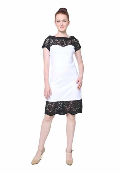 Dress Putih Brokat Hitam
