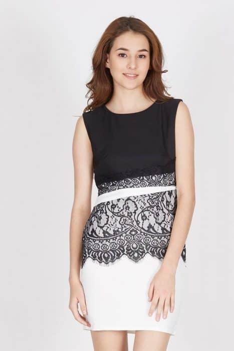 Mini Dress Hitam Putih
