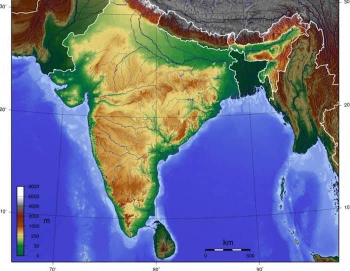 Peta Topografi India