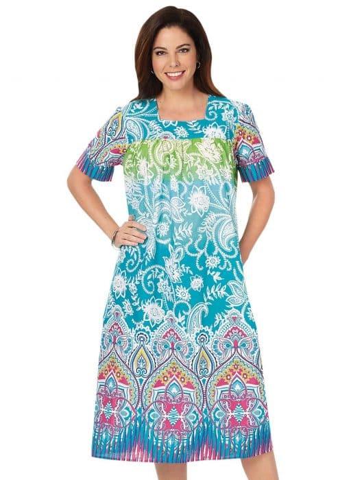 Model Baju Batik Modis Dress Lengan Pendek