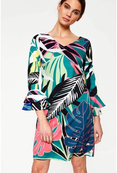Model Baju Tunik Floral Lengan Lonceng