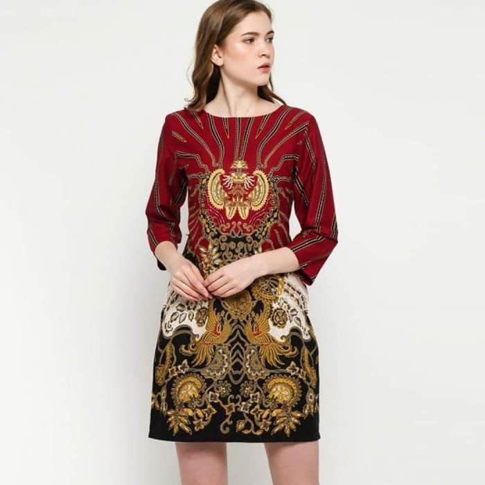 Model Batik Dress Body Fit