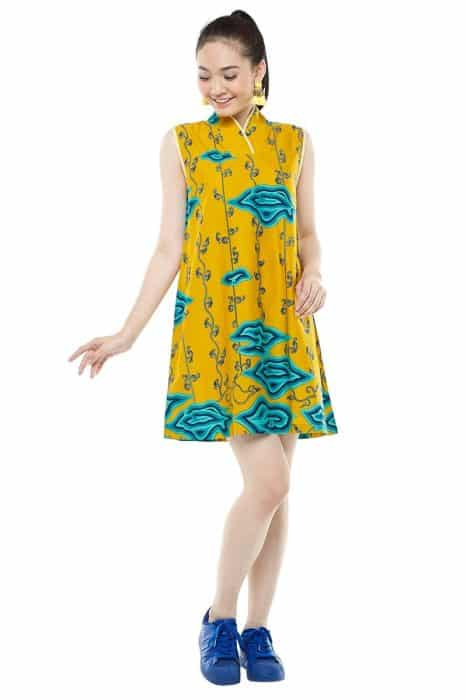 Model Batik Dress Kantor Sederhana