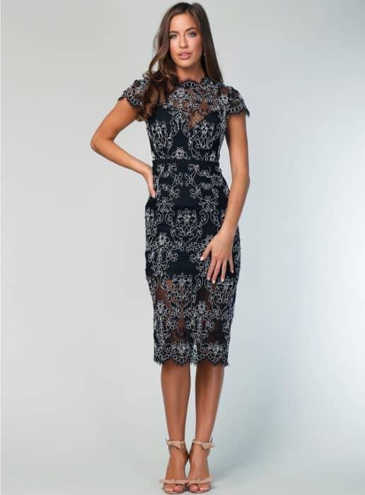 Model Dress Formal Brokat Hitam