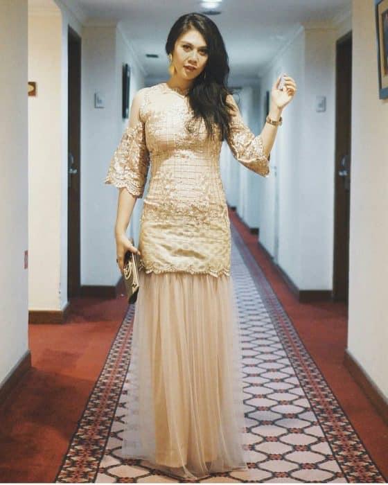 Model Long Dress Brokat Kombinasi