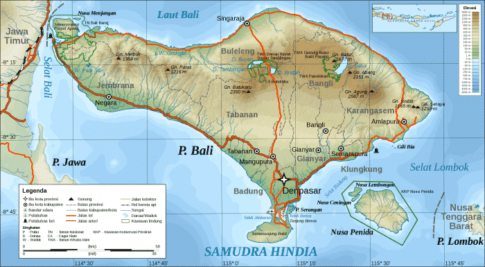 Peta Bali dengan Lokasi Geografinya