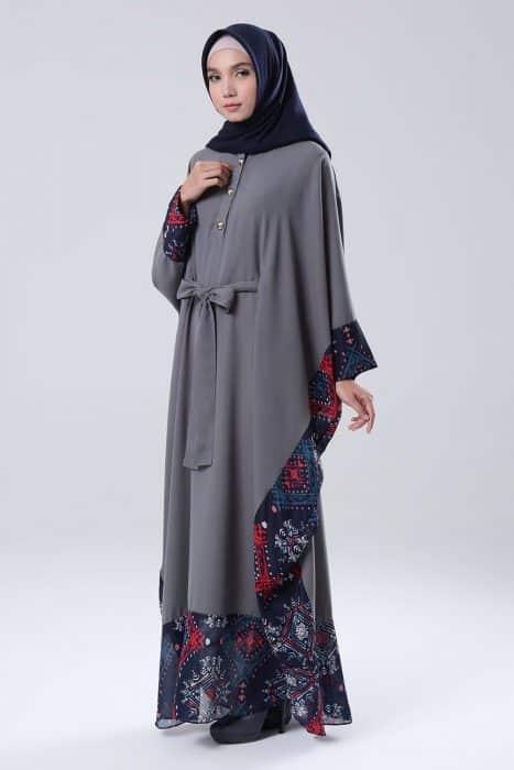 Baju Muslim Batik Kombinasi Polos