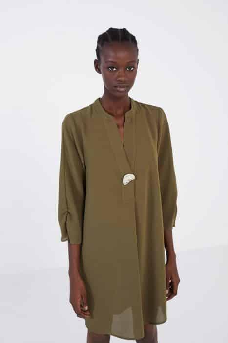 Tunik Dress In Raw Umber Chiffon