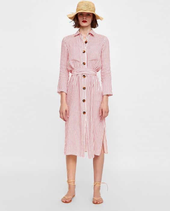 Vintage Belted Tunic In Pink Line