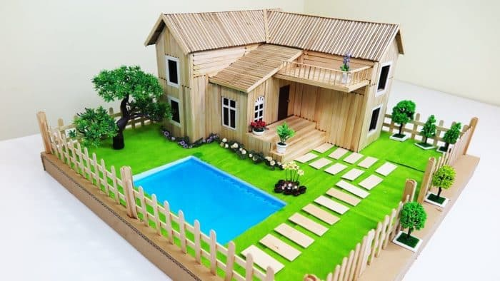 Contoh Desain Rumah dari Stik Lengkap dengan Kolam Renang