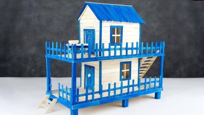 Rumah Biru dari Stik