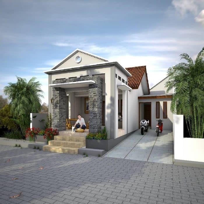 Contoh Desain Rumah Batu Alam untuk Rumah Menanjak