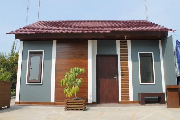 Desain Kontrakan Bentuk Atap Trapesium