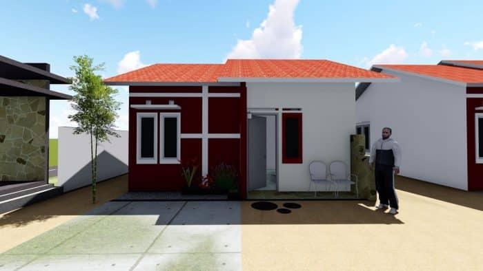 Desain rumah dengan halaman depan kering