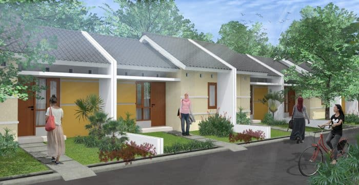 Desain rumah kecil dengan taman mini di sisi kanan kiri