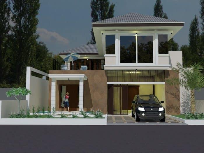 Desain rumah mungil kompleks dengan garasi dan taman