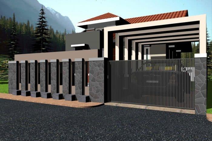 Dinding Pagar Depan Rumah dengan Batu Templek