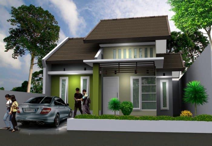 Modern house garasi samping tertutup