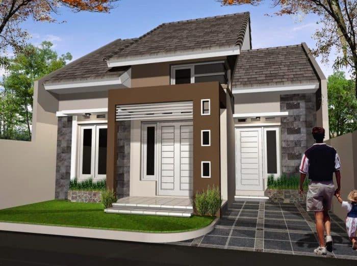 Rumah Minimalis Dinding Batu Candi