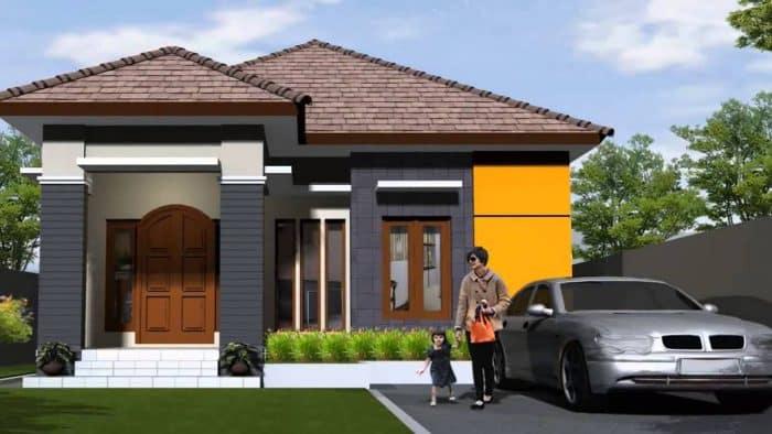 Rumah dengan garasi samping menyatu