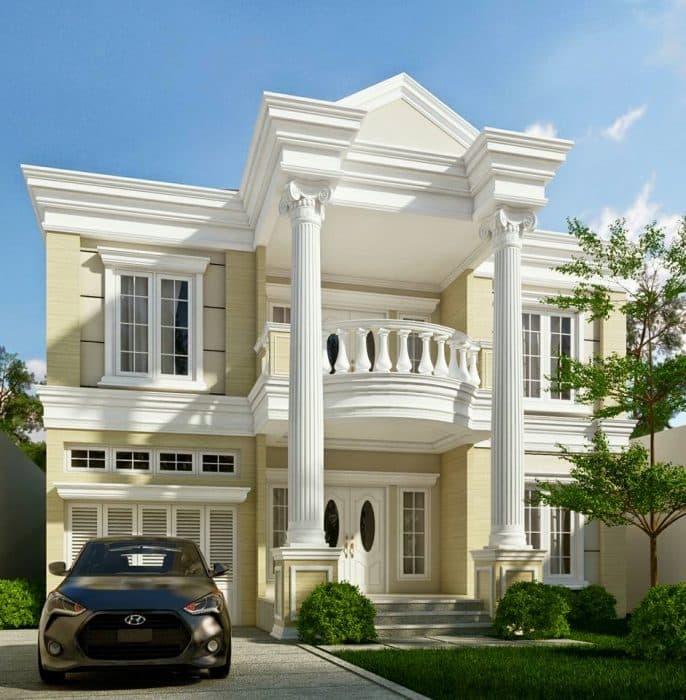 Rumah dengan teras bergaya vintage