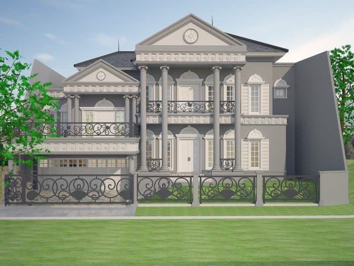 Rumah klasik dengan warna abu yang mewah