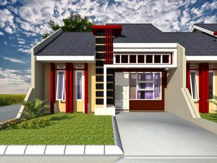 Rumah modern desain dinding bata