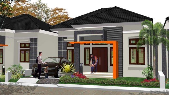 Rumah modern style asli garasi samping