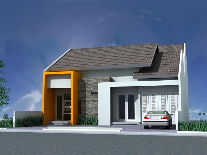 Unique house dengan garasi samping terbuka