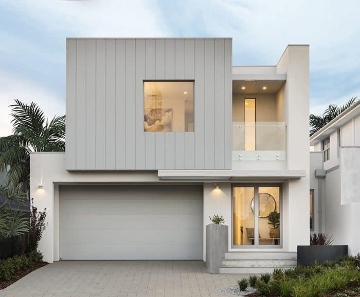 rumah Dua Lantai Simpel Warna Putih Abu