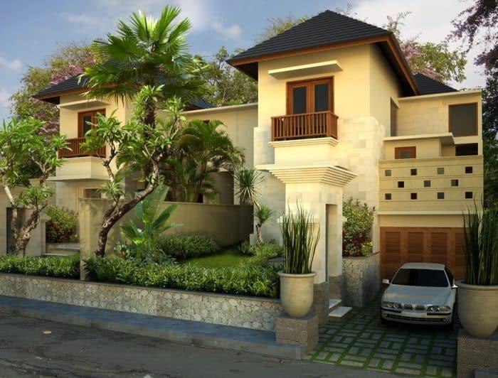 Contoh Desain Rumah Bali Modern Dua Lantai