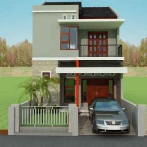 contoh desain rumah abu-abu dengan pintu besar - thegorbalsla