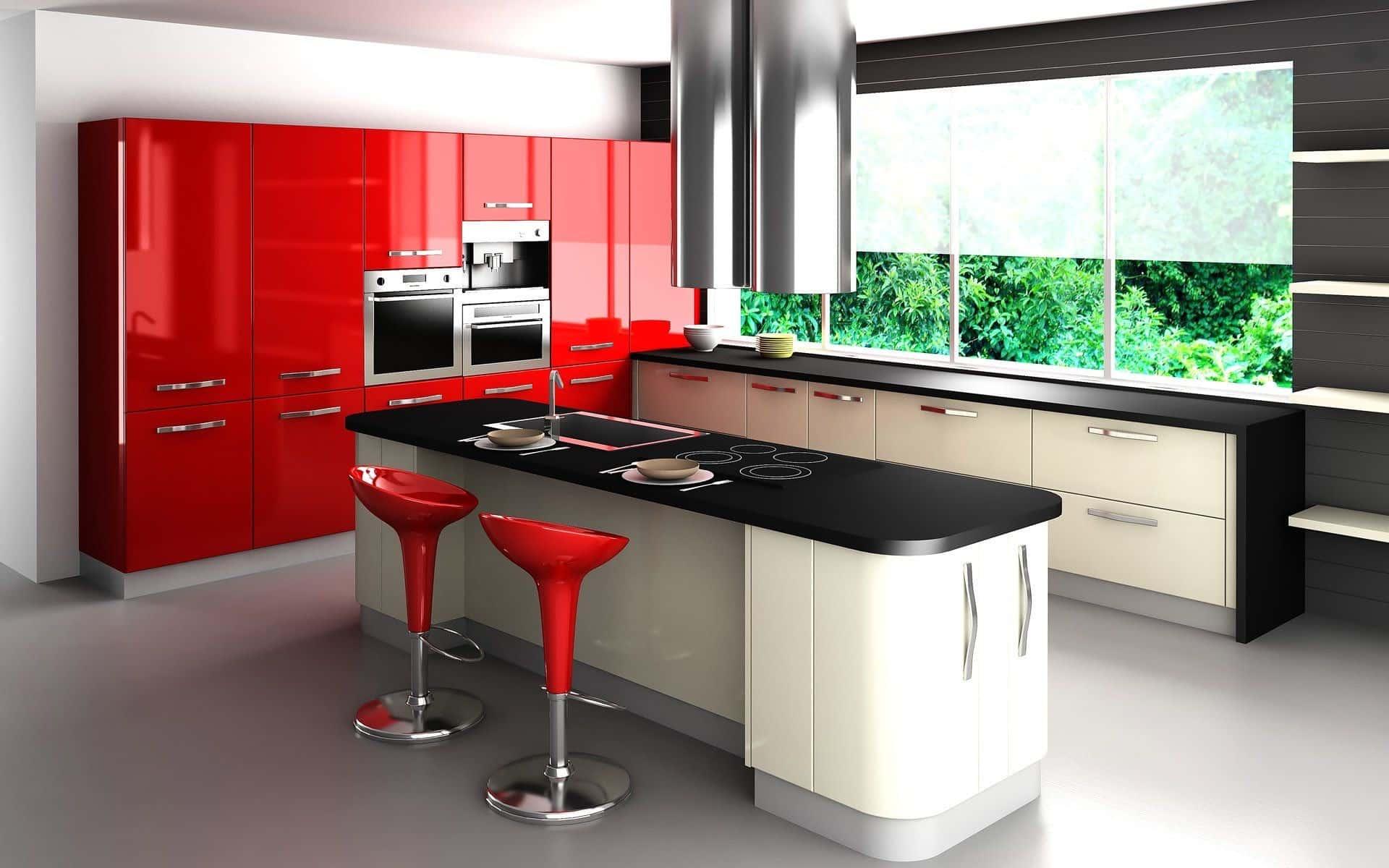 Dapur Merah Dengan Dinding Hitam Putih Thegorbalsla