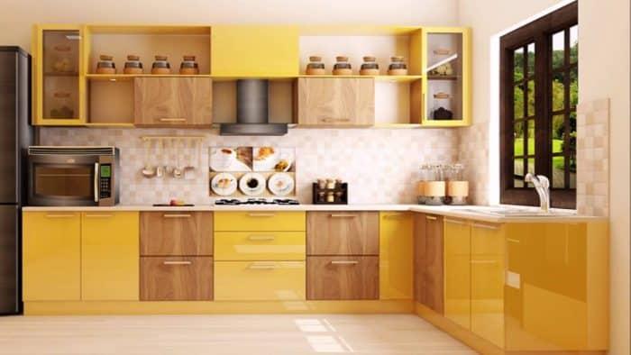 Dapur Orange Kombinasi Coklat Bentuk L