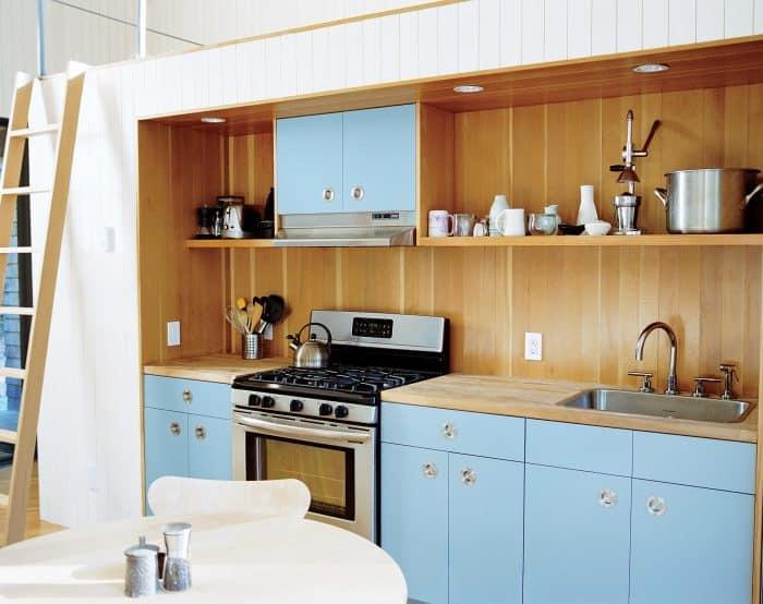 Dapur Single Line Biru Kalem Kombinasi Coklat