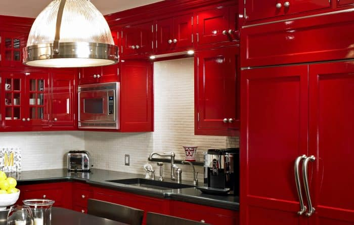 45 Contoh Desain Dapur Warna Merah Mewah Dan Elegan