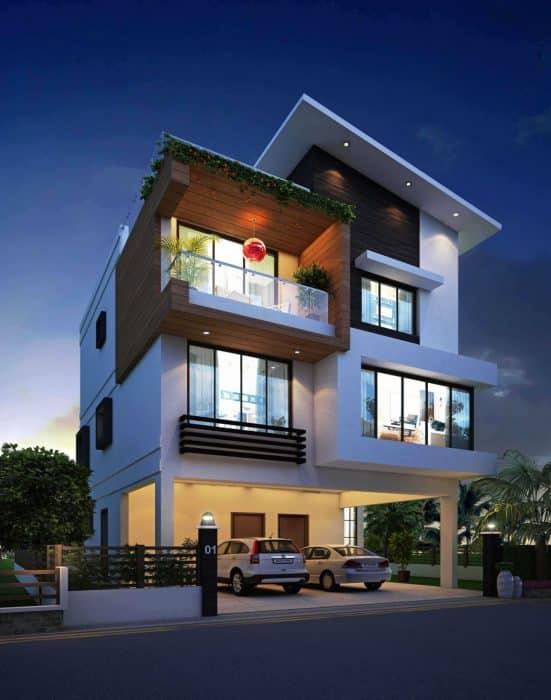 Desain Rumah Modern Tiga Lantai