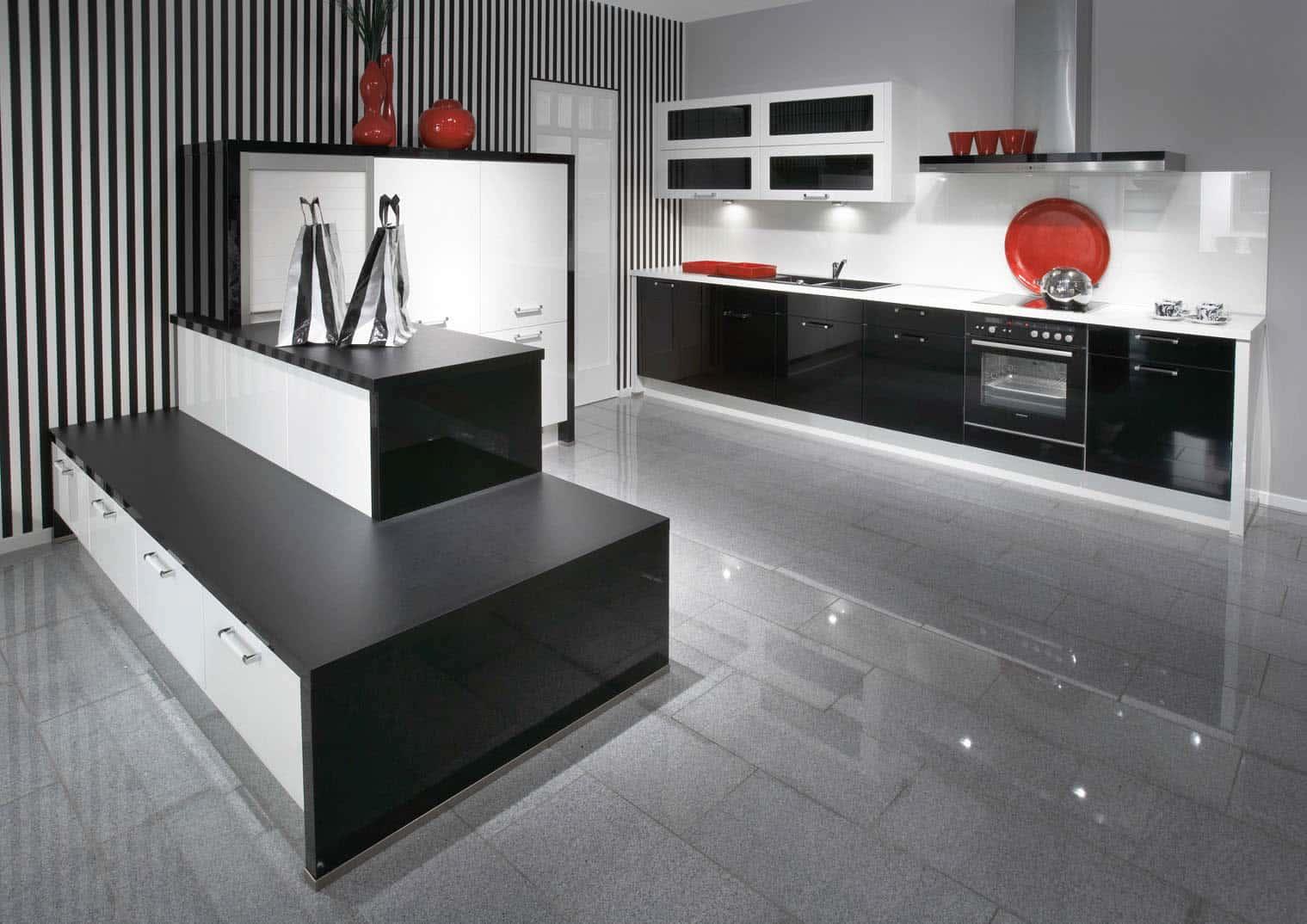 Desain dapur minimalis monokrom bergaris - Thegorbalsla