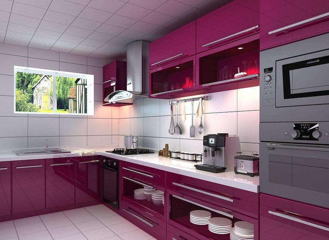 Desain dapur  modern warna  pink  Thegorbalsla