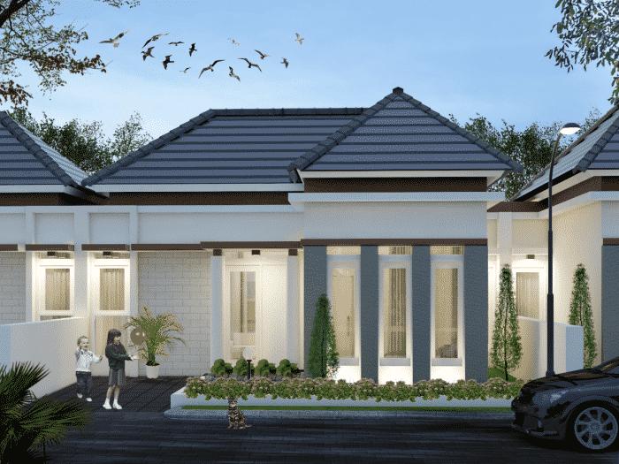 Desain rumah putih minimalis satu lantai