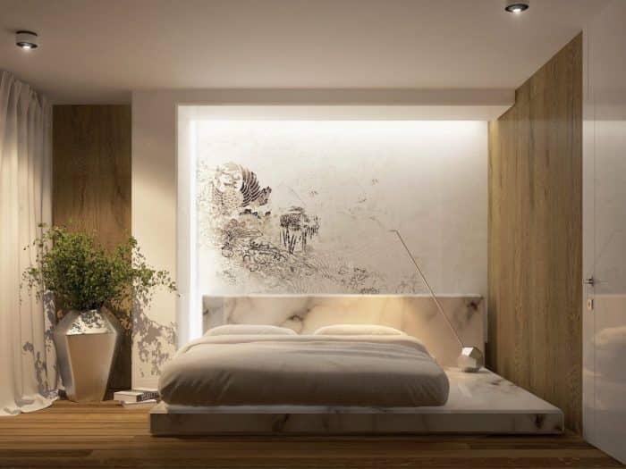 "Examples of Simple Bedroom Designs ""Lesbian Bedroom with Marble Base"""