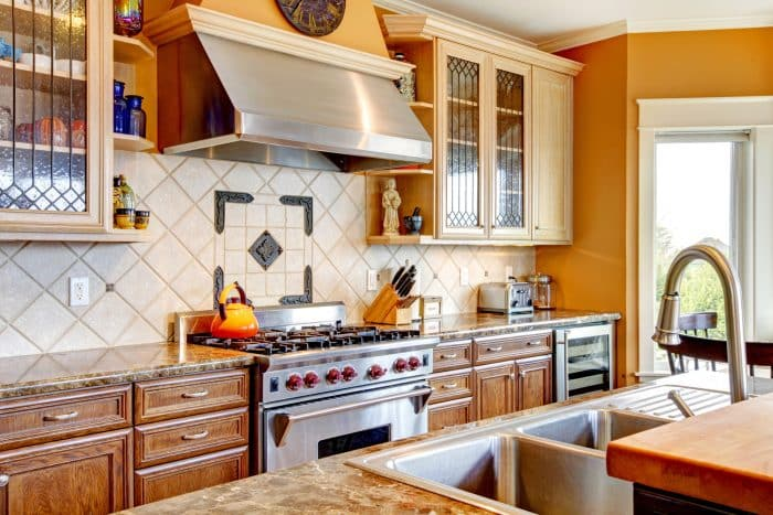 Model Dapur Mini Oranye Kitchen Set Kayu