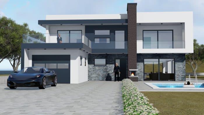 Rumah 2 lantai modern 2 sisi