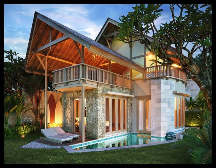 Rumah Bali dengan Batu Alam dan Kolam Renang