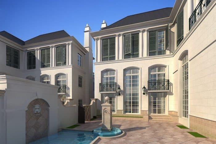 Rumah Mewah dengan Detail Garis Horizontal