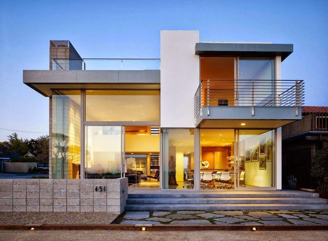 Rumah Minimalis Modern Dominan Kaca Thegorbalsla