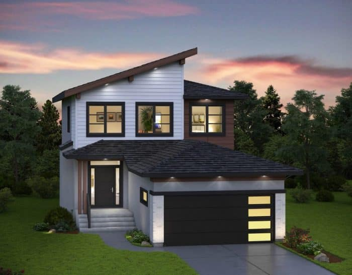 Rumah Minimalis Modern Kombinasi Atap Sandar dan Limas