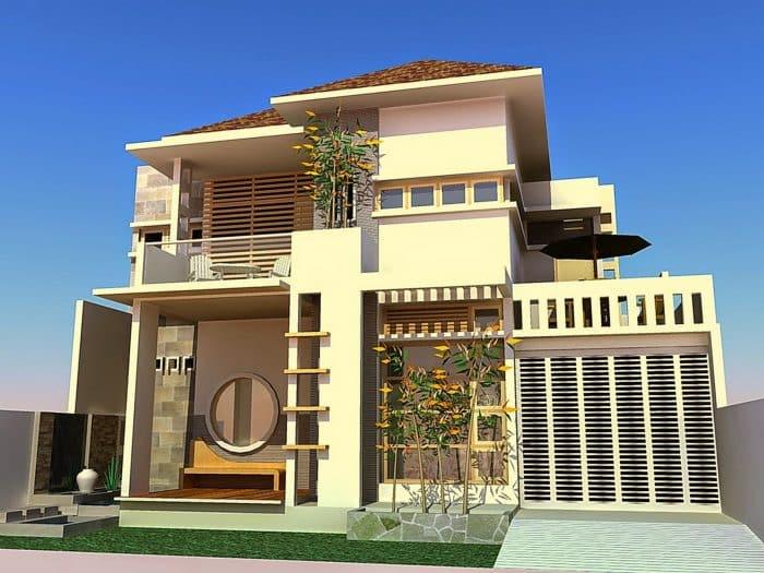 Rumah Modern Dua Lantai Unik